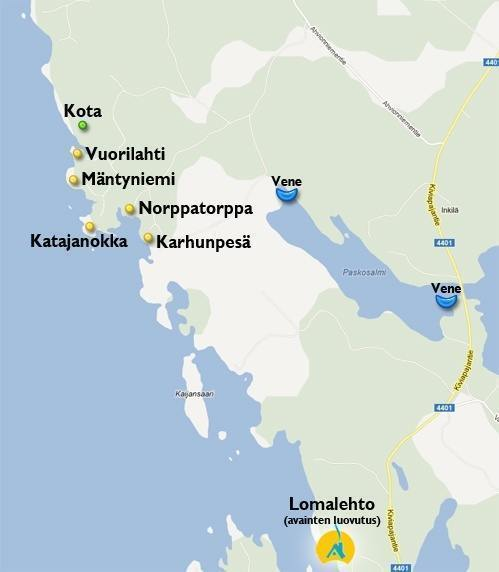 Mökkikartta Cottages map
