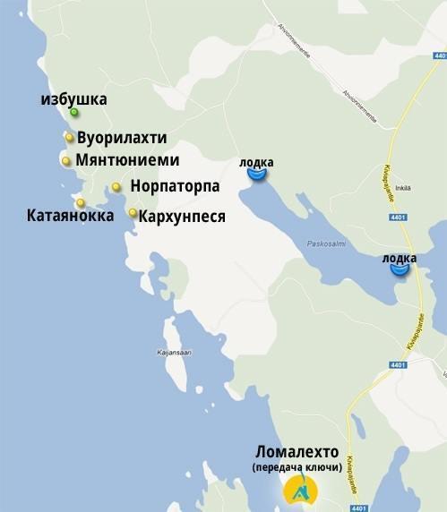 Карта с расположением коттеджей